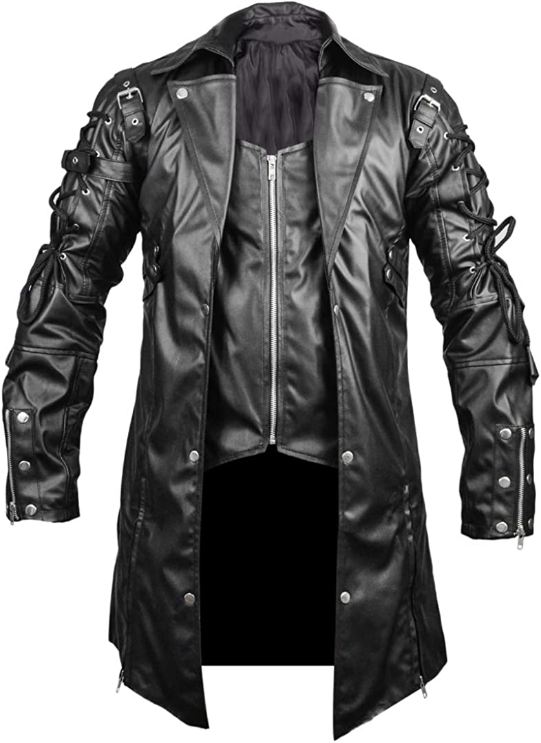 Steampunk Gothic El Paso Mall Ranking TOP5 Mens Trench Coat Faux XXS-5XL Leather