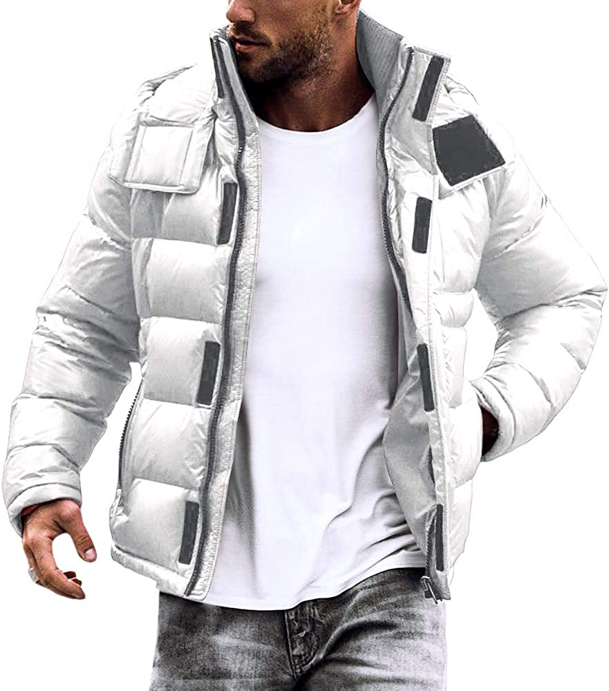 Hestenve Mens Classic Quilted Puffer Coat Hooded Winter Down Jacket