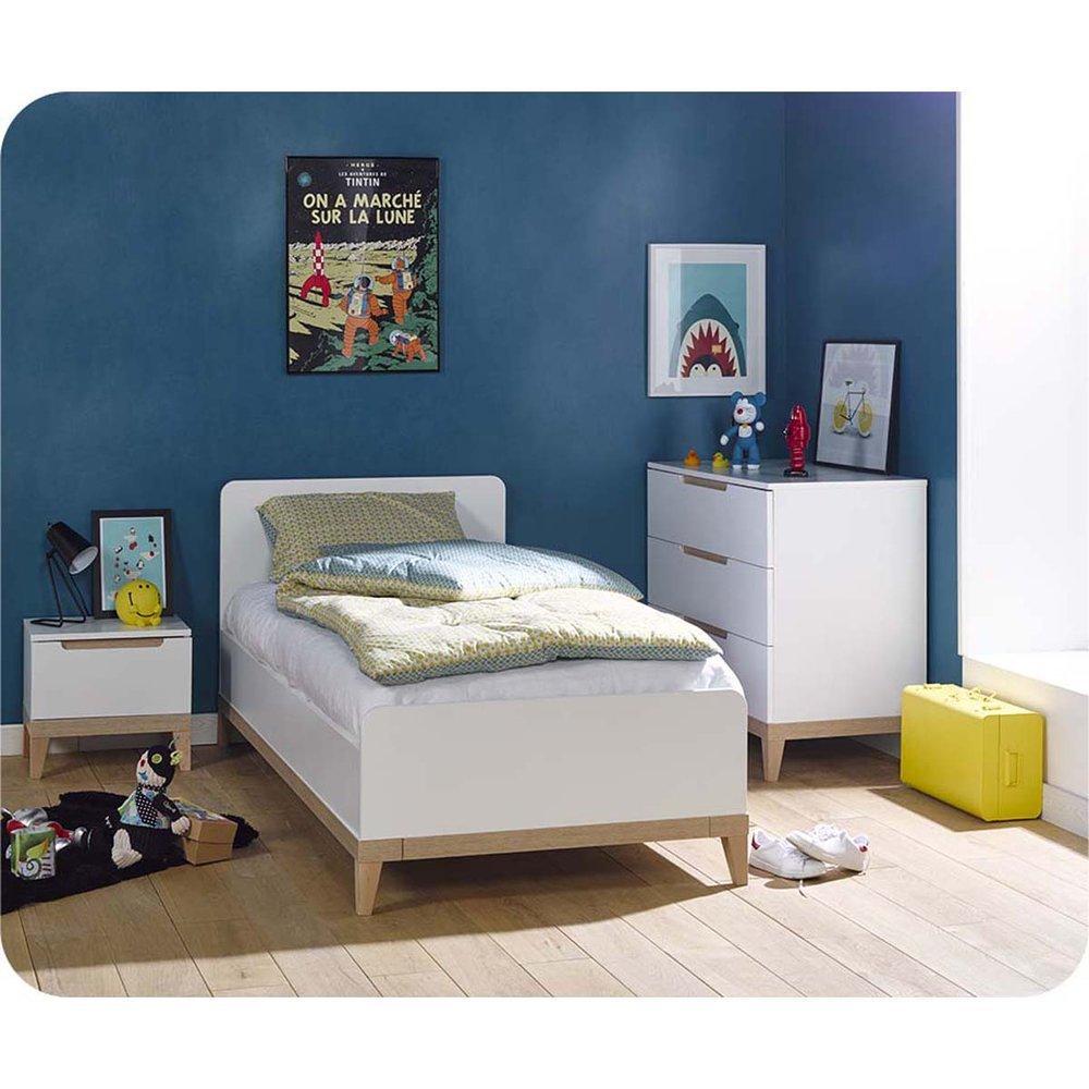 Kinderzimmer Evidence weiß und Holz Farbe 3 Möbeln