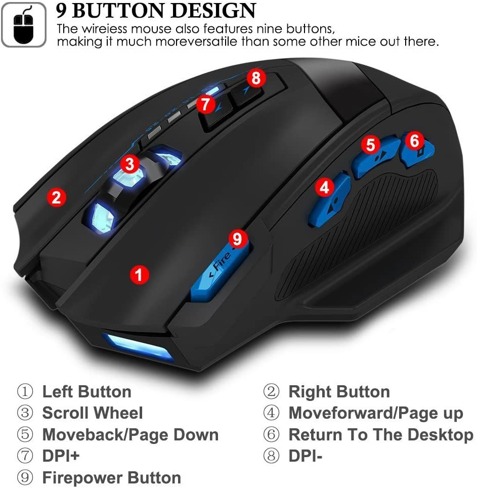 Zelotes F15 Professional 2.4G Wireless Wired USB LED Lighting Adjustable 2500 DPI With 9 Buttons Optical Gaming Mouse Mice for PC Mac Gamer,Black