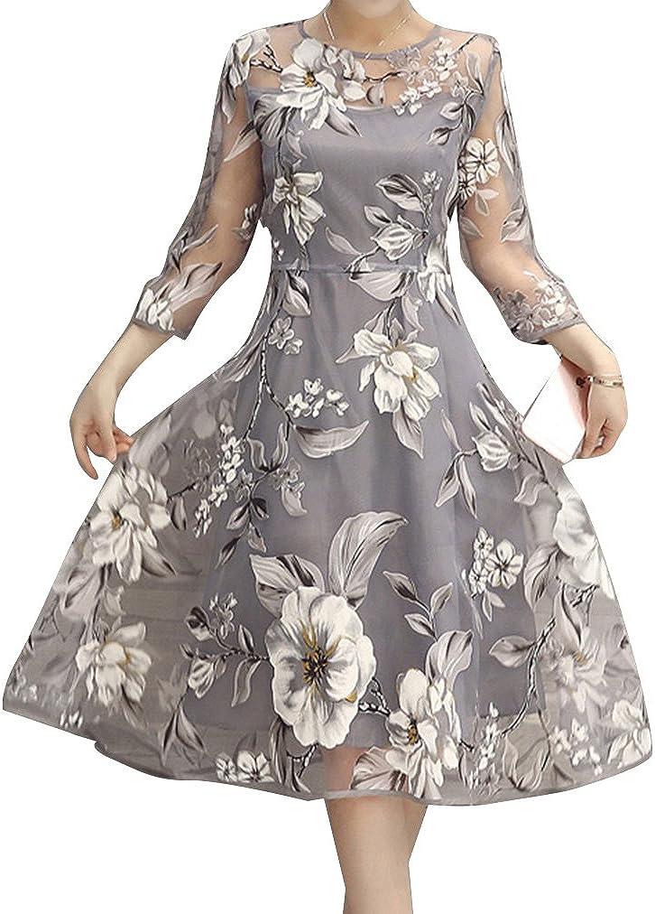 junkai Donna Elegante Floreale Pizzo Vestito Lungo Vintage Vestito con Tulle Maniche al Ginocchio Spiaggia Vestito Cocktail Festa Vestito Palla Toga Nozze Vestito Sera Toga Nozze Vestito