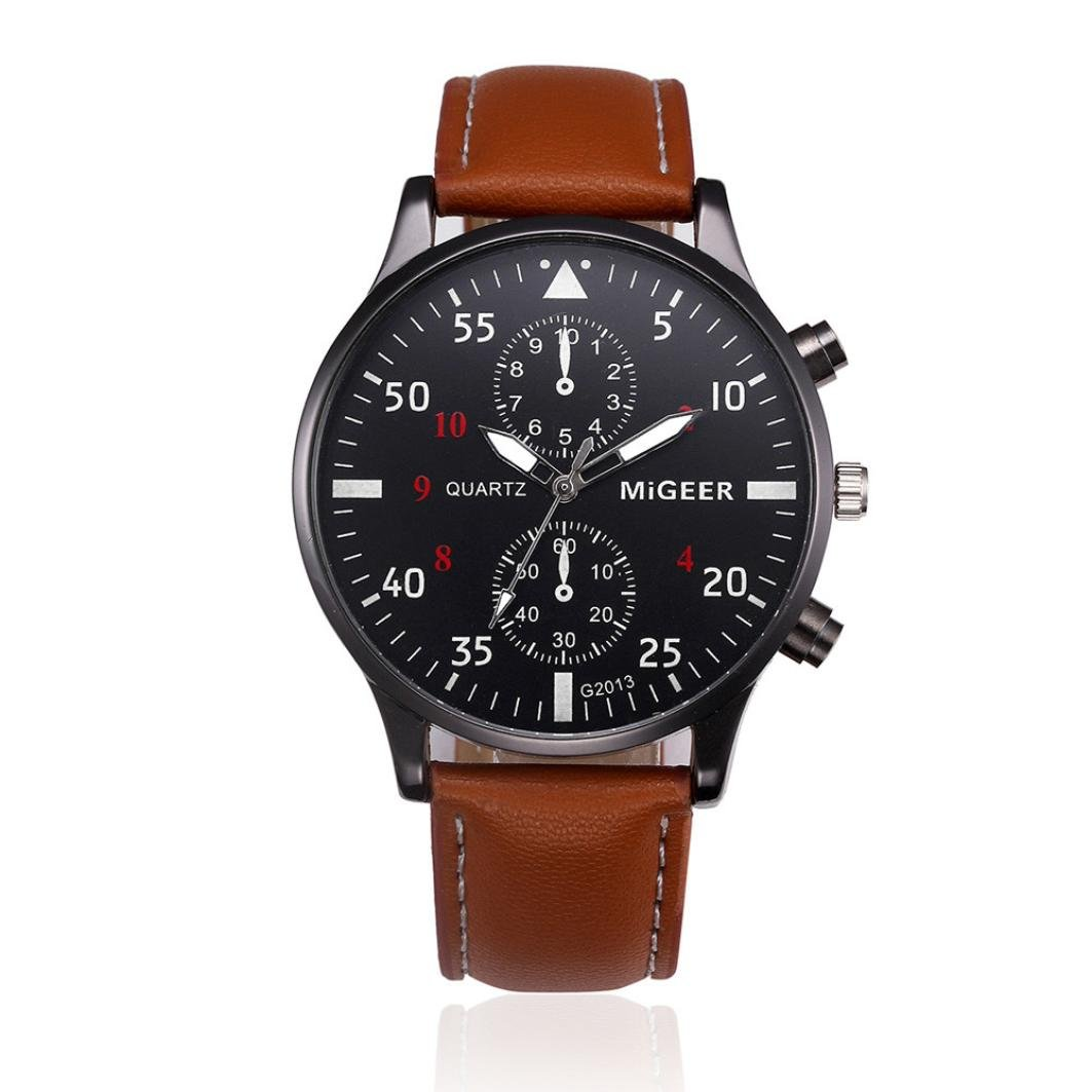 Start Men's Business Retro Design Leather Band Wrist Watch (Brown)