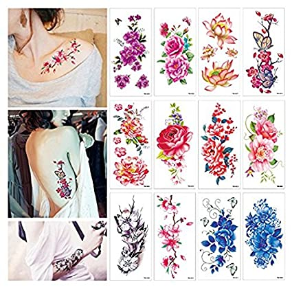 Pegatinas temporales para tatuajes de flores, diseño de flores de ...