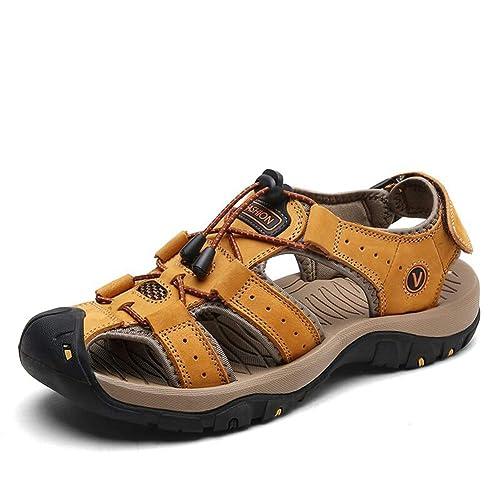 Hombres de Gladiador Sandalias de Cuero Verano Playa Zapatos ...