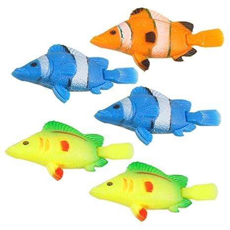 5pcs Tricolor artificial flotante Wiggly cola peces para acuario