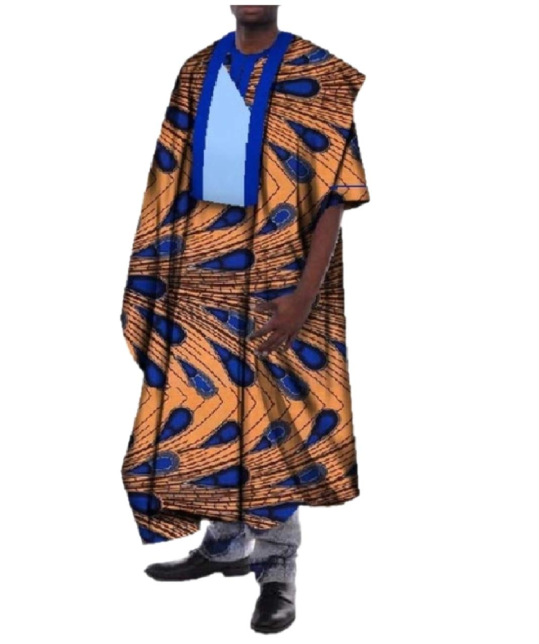 Zimaes Mens Contrast Basic Cotton Plus-size African Printed Long Robe yellowish brown S