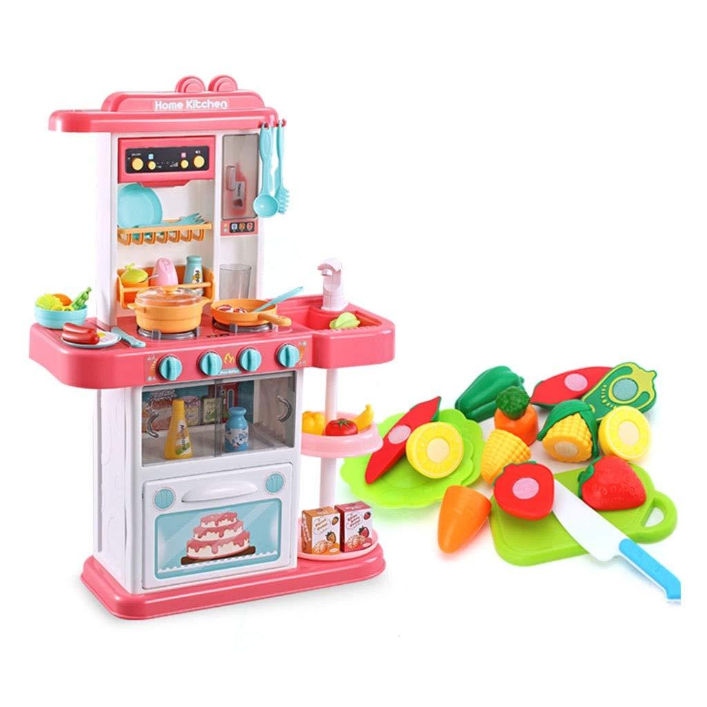 調理器具食器 キッチン用玩具 プラスチック製キッチンプレイセット 教育キッズキッチン用品 本物の蛇口 シミュレーション果物と野菜 32アクセサリー ギフト (Color : Pink, Size : 48*20*74cm) 48*20*74cm Pink B07SKZZNMM