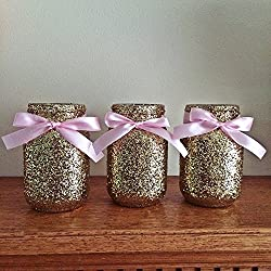6 Gold and Pink Glitter Glass Mason Jar Centerpieces, Wedding Centerpieces, Gold Wedding, Silver, Gold Vases. Gold Party Decorations, Pink Birthday, Set of 6