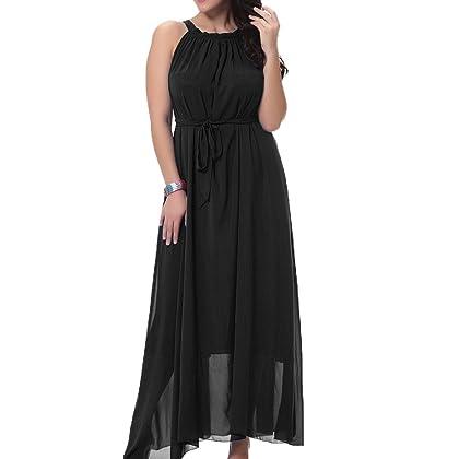 c7c652624a9 TLIH Women s Chiffon Plus Size Summer Beach Sleeveless High Waist Long Maxi  Dress with Belt