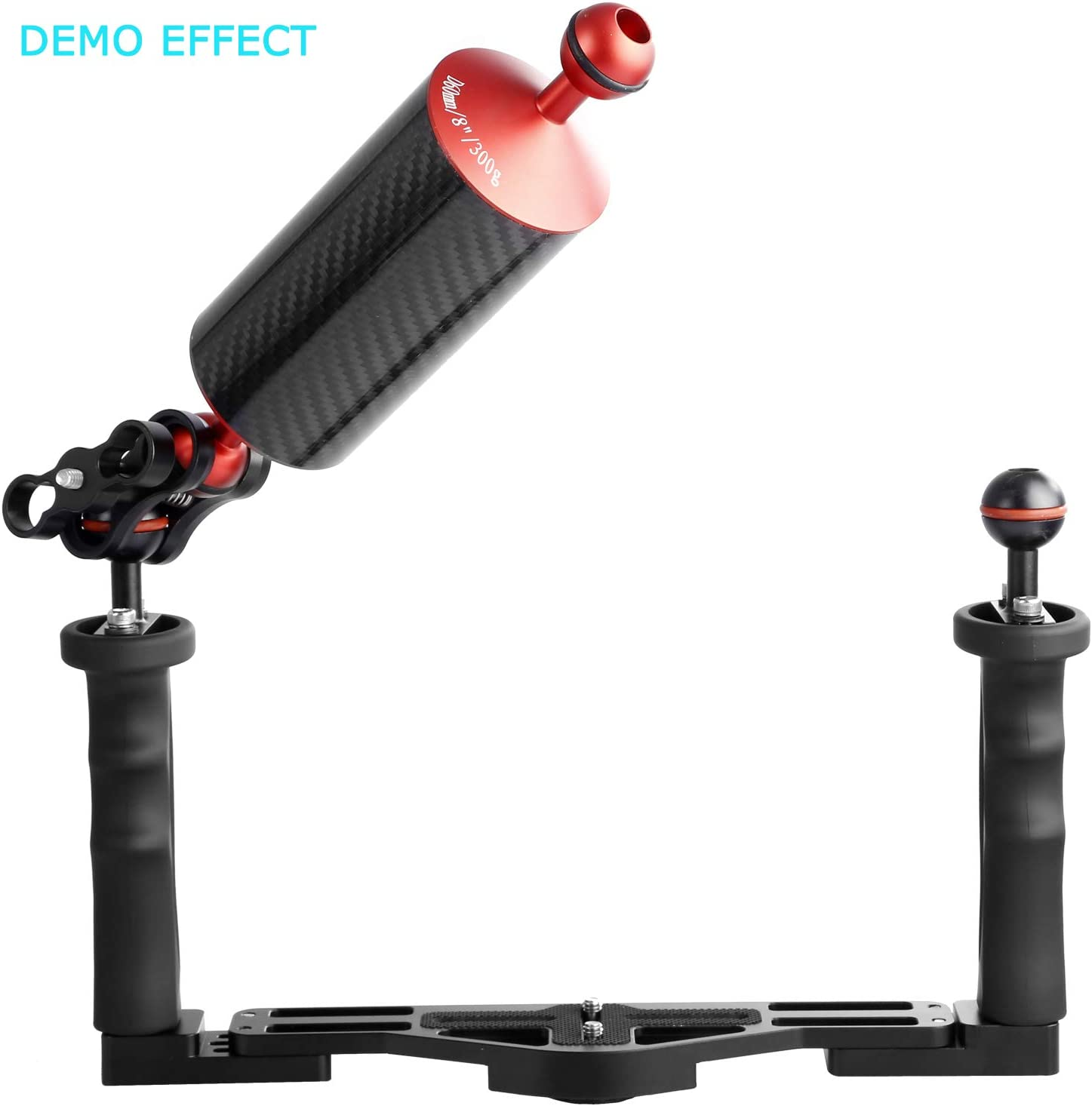 20.5 cm D60mm Carbon Fiber Underwater Float Arm for Video Light//Strobe mounting Black WEIHE 8