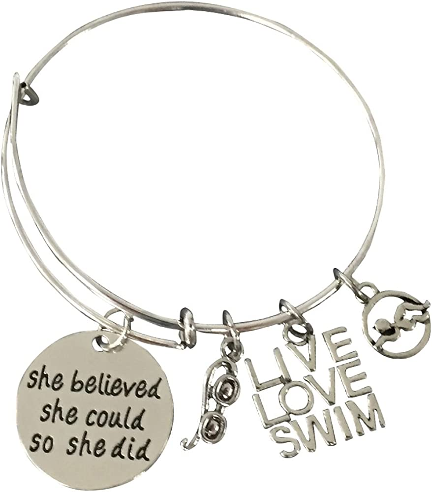 She Believed She Could So She Did Swimming Jewelry Personalized I Love to Swim Keychain with Initial Charm Swimmer Jewelry for Swimmers /& Swim Teams