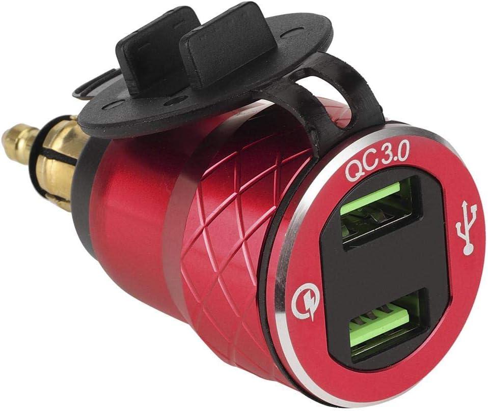 KIMISS 12V-24V Carga rápida 3.0 Puerto USB para motocicleta Enchufe de cargador USB dual con pantalla LED Enchufe de la UE para coche Barco Marine ATV Autobús Camión y más(rojo)