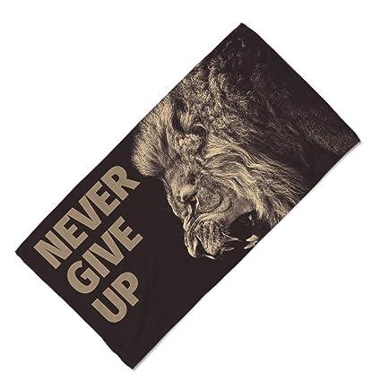 Toalla Fitness - Toalla de gimnasio de microfibra con texto en inglés «Never give up