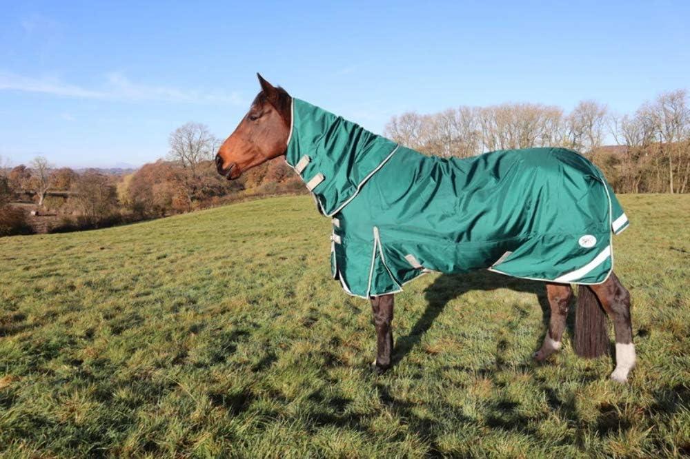 75g Filling Ballistic Nylon Horse Rug Swish Equestrian 1680D Lightweight Detachable Neck Turnout Rug Green