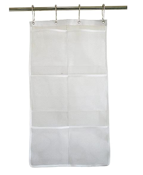 Hanging Mesh Bath Shower Organizer With 6 Storage Pockets And Liner Hooks  Space Saving And Quick