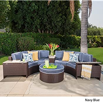 Superb Riviera Otranto Outdoor Patio Furniture Wicker 8 Piece Semicircular  Sectional Sofa Seating Set W/ Waterproof Cushions (Standard Ottoman, Navy  Blue)