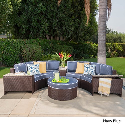 Riviera Zanzibar Outdoor 4 Seater Wicker Curved Sectional Set with Wedge Tables, Brown and Navy Blue ()