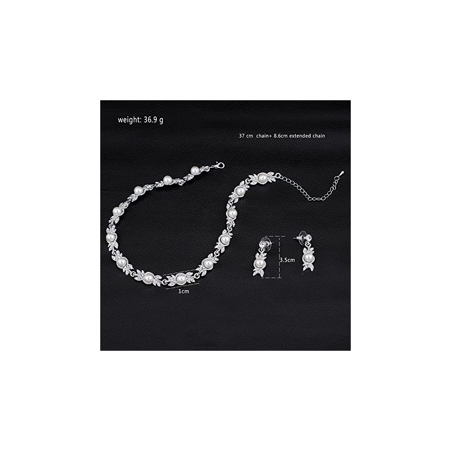 mecresh Pearl Wedding Bridal Jewelery sets for Women or Bridesmaids(1 Set Earrings,1 PCS Necklace)
