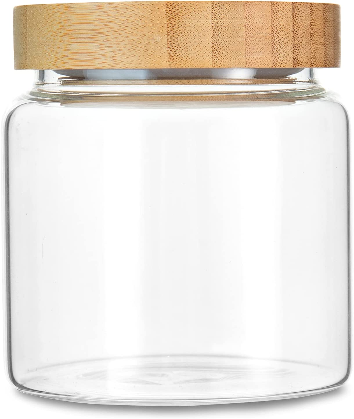 MOLADRI 480ML/16Oz Clear Cute Glass Storage Canister Holder with Airtight Bamboo Lid, Modern Decorative Small Container Jar for Coffee, Spice, Candy, Salt, Cookie, Condiment, Pepper, Sugar