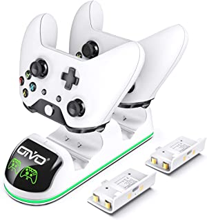 Charger for Xbox One/S/X, Fast Dual Charging Station Updated LED Strap, Remote Charger Dock - 2 Rechargeable Battery Packs Included