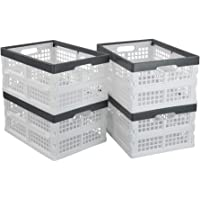 Asking 4-Pack 14 L Plastic Stackable Folding Storage Baskets, Collapsible Storage Crate Basket, White