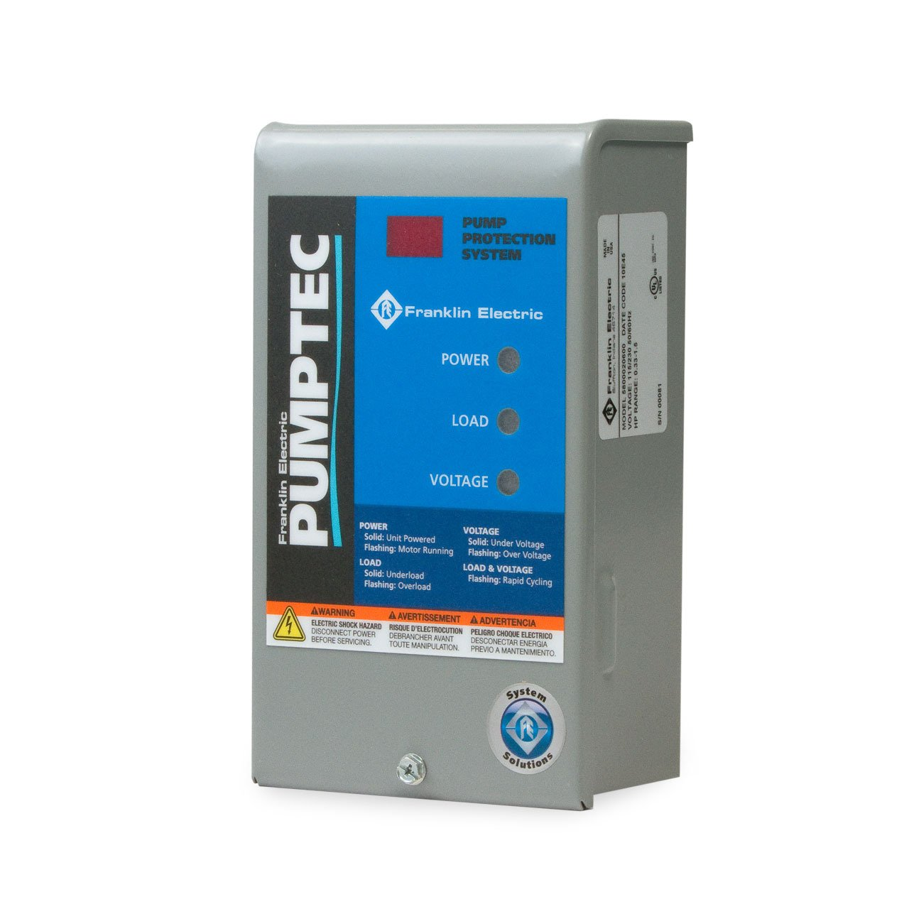 FRANKLIN ELECTRIC Pumptec water pump protection 1/3 HP to 1.5 HP 230/115V LOW YIELD WELLS by Franklin
