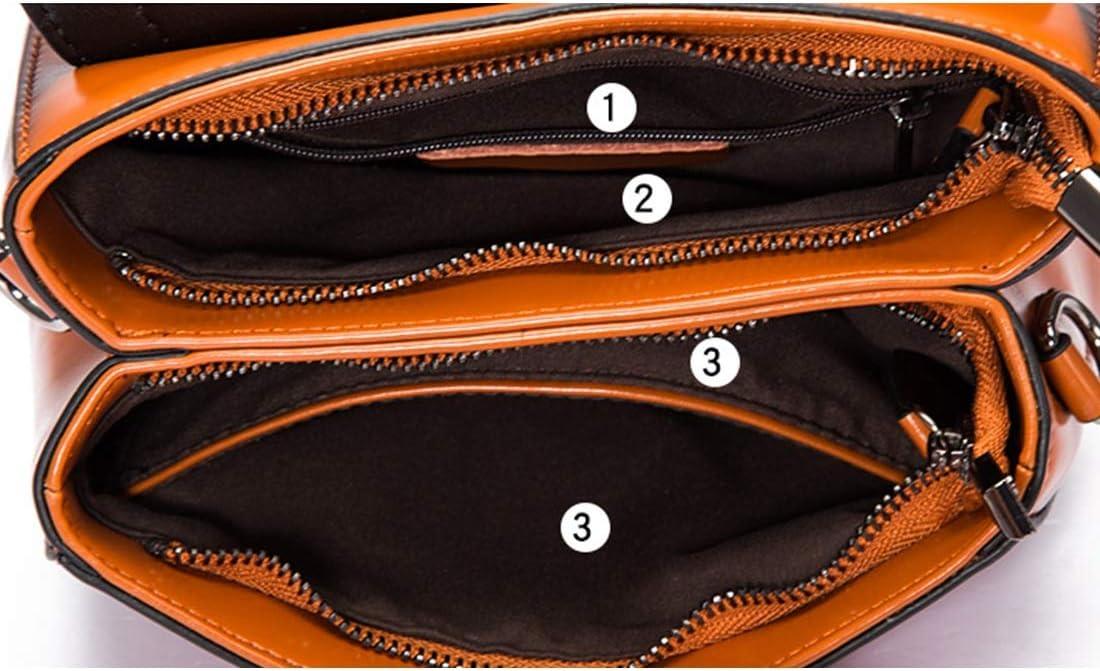 Color : Earth Yellow KERVINJESSIE Crossbody Bag for Women Vintage Genuine Leather Top Handle Tote Purses Satchels Handbag