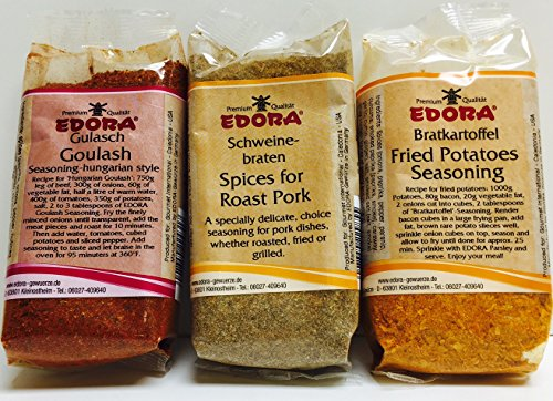 Edora Assorted Seasoning - Fried Potatoes Seasoning, Goulash, and Schweine-Braten Spices for Roast Pork (Best Spices For Potatoes)