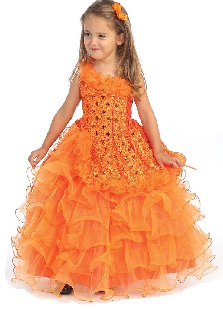 Little Girls One Shoulder Ruffle Sequin Flowers Girls Dresses Orange Size 4
