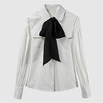 Hembra Inferior Bolsillo Sunbow Corbata Camisa Camiseta Blanca de Manga Larga Mujer Fondo Camisa,Blanco,L: Amazon.es: Deportes y aire libre