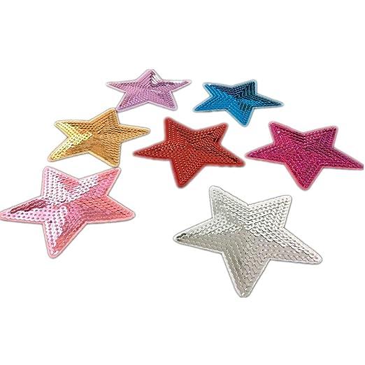 Parches de lentejuelas con forma de estrella, 5 unidades, se pueden coser o plancharlos para adherirlos a la tela: Amazon.es: Hogar