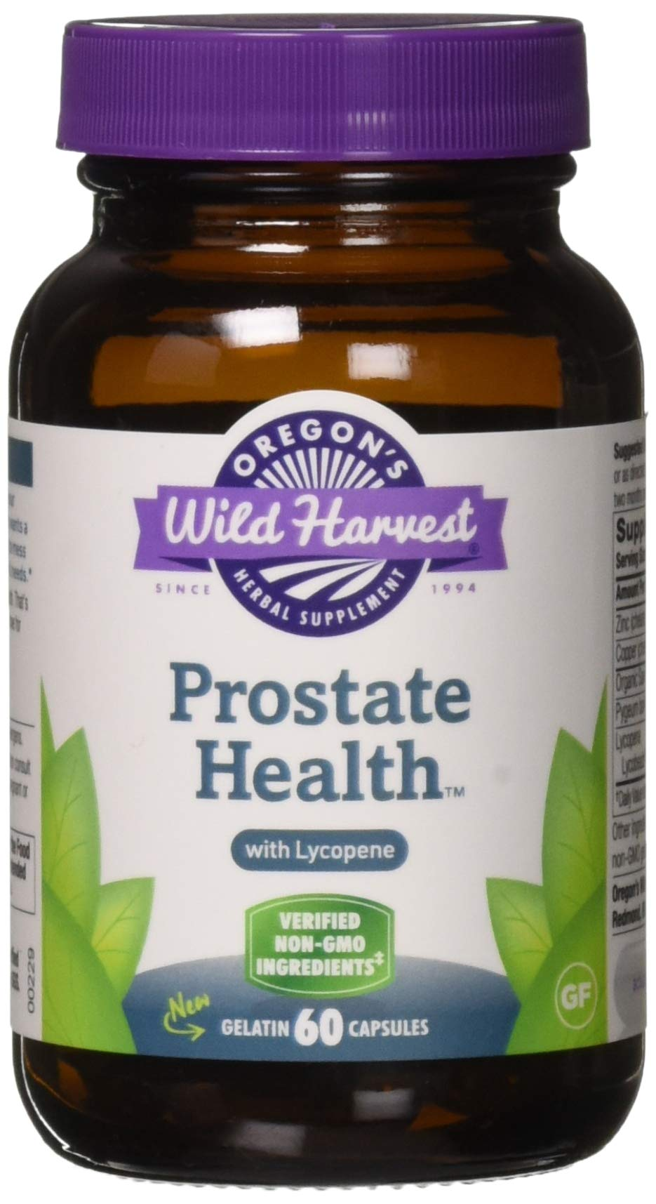 Oregon's Wild Harvest Prostate Health Lycopene Capsules, Non-GMO Herbal Supplements (Packaging May Vary), 60 Count