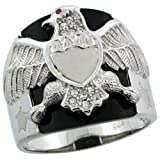 Revoni Sterling Silver Men's Black Onyx American Eagle Ring w/ CZ Stones & Frosted Star Accents, 13/16 in. (20mm) wide