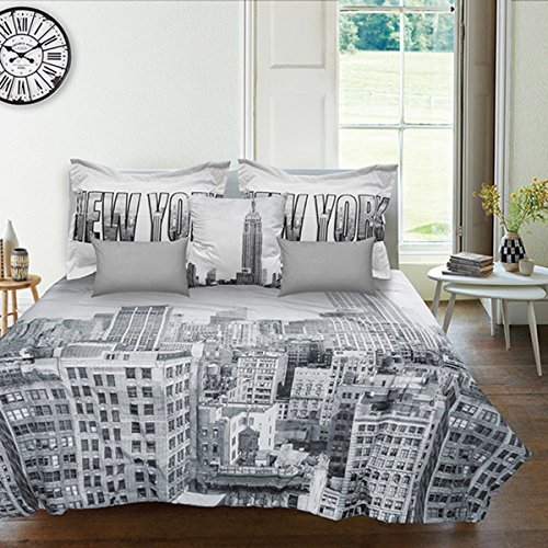 7 Piece Grey White New York City Skyline Theme Comforter Full Set, NYC Manhattan Cities Bedding, Modern Fashion Graphic Downtown NY Street Style Empire State Building Theme Pattern, Gray Black