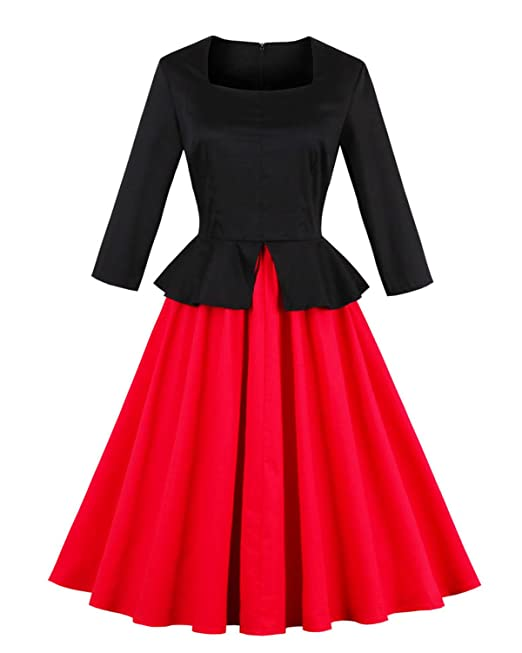 ZAFUL Mujer Vintage Vestido Retro 50s Audrey Hepburn Vestidos de Coctel Noche Fiesta Mangas Largas Cuello