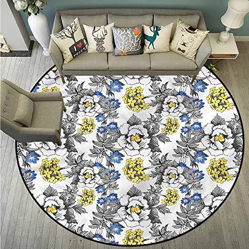 (Non-Slip Round Rugs,Garden,Peony Hydrangea Violets,Anti-Slip Doormat Footpad Machine Washable,3'11
