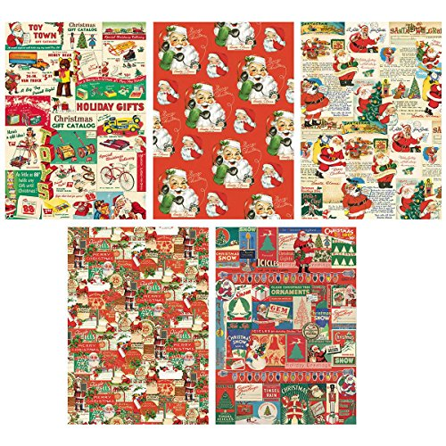 Old-Time Santa Vintage Style Christmas Wrapping Paper Set of 10 Sheets