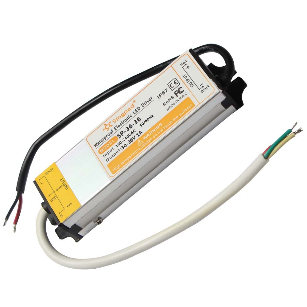 Singpad 30W IP67 Waterproof Constant Current LED Driver AC100-250V to DC30-36V 1000mA for 30W High Power LED Light DC 36V 30W Waterproof Electronic LED Driver Transformer Power Supply