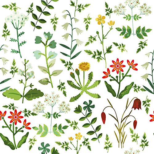 WallsByMe Peel and Stick White Botanical Floral Removable Wallpaper 1864-2ft x 4ft (61x122cm) - WallFab - 7mil