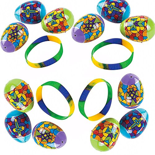 Religious Stained Glass Patterns - BestPysanky Set of 12 Bracelet Filled Stained Glass Pattern Religious Plastic Eggs