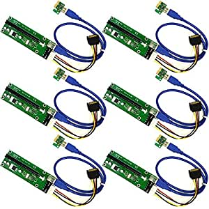 6 PACK PCIE riser cable VER 006 or Ver006C PCI-E 16x to 1x Powered Riser Adapter Card USB 3.0 Extension Cable 4pin MOLEX to SATA Power Cable - GPU Riser Adapter - Ethereum Mining ETH miner cable rig
