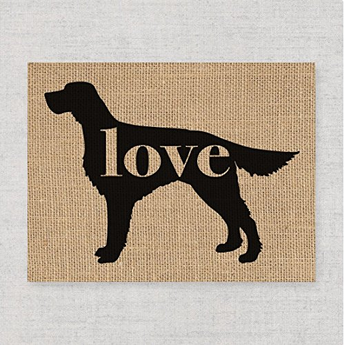 (Irish Setter Love - A Print on Your Choice of Fine Art Paper or Burlap - Can Be Personalized)