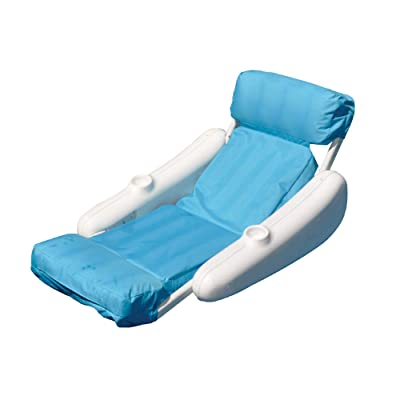 Inflatable Blue and White Swimming Pool Floating Lounge Seat, 52-Inch: Sports & Outdoors