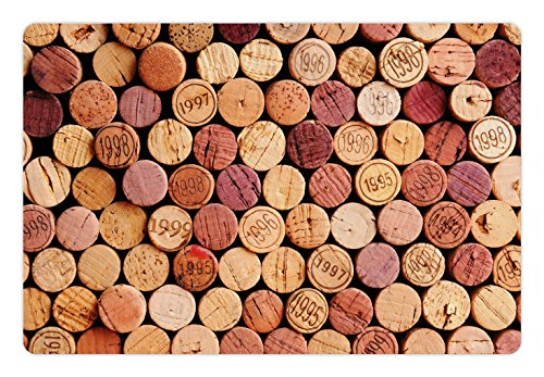 Ambesonne Wine Pet Mat for Food and Water, Random Selection of Used Wine Corks Vintage Quality Gourmet Taste Liquor, Rectangle Non-Slip Rubber Mat for Dogs and Cats, Mustard Mauve Maroon