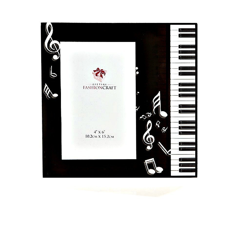amazoncom black white beveled glass music theme picture frame piano keyboard notes g clef recital photo holder gift keepsake boxed home - Music Picture Frame