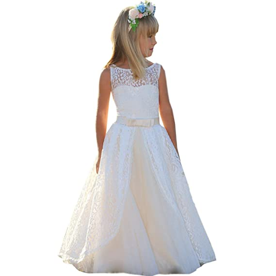 kengtong Round Neck White Lace Flower Girl Dresses Kids Formal Prom Gowns
