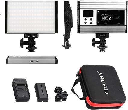 CRAPHY Luz de Video con Pantalla LCD, Batería de Li-Ion y Cargador ...