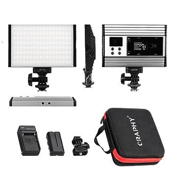 CRAPHY Luz de Video con Pantalla LCD, Batería de Li-Ion y Cargador, 144 Leds Bi Color 3200K-5600K, 15W, Foco Led Camara, para cámara videocámara DSLR ...
