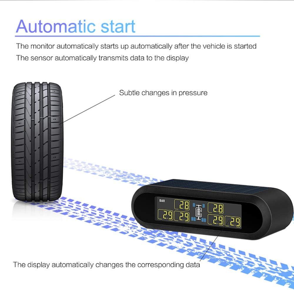 NANAD Auto Solar Powered TPMS Auto Reifendruckkontrollsystem Wireless 4 extern IP67 wasserdicht f/ür Auto Motorrad Auto LKW
