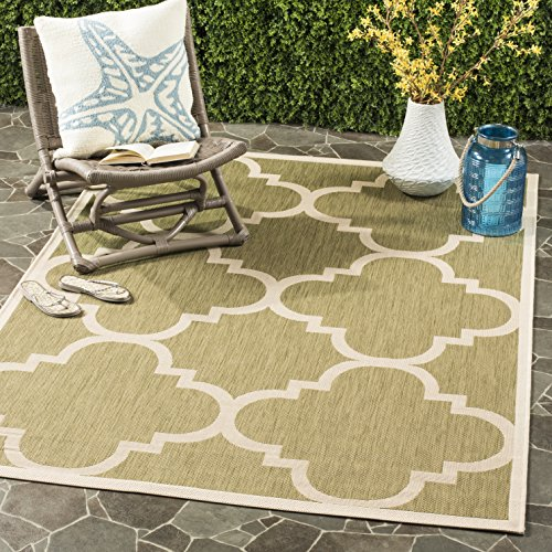 Safavieh Courtyard Collection CY6243-244 Green and Beige Indoor/ Outdoor Area Rug (4' x 5'7